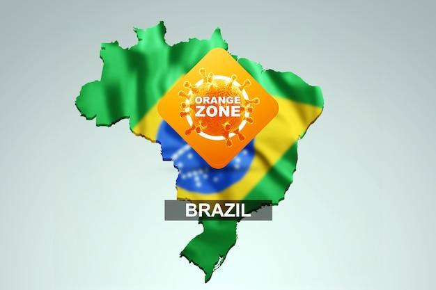 Знак с надписью оранжевая зона на фоне карты бразилии с бразильским флагом. оранжевый уровень опасности, коронавирус, изоляция, карантин, вирус. 3d визуализация, 3d иллюстрации.