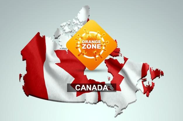 Знак с надписью оранжевая зона на фоне карты канады с канадским флагом. оранжевый уровень опасности, коронавирус, изоляция, карантин, вирус. 3d визуализация, 3d иллюстрации.