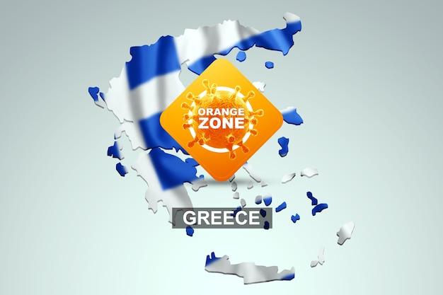 Знак с надписью оранжевая зона на фоне карты греции с греческим флагом. оранжевый уровень опасности, коронавирус, изоляция, карантин, вирус. 3d визуализация, 3d иллюстрации.