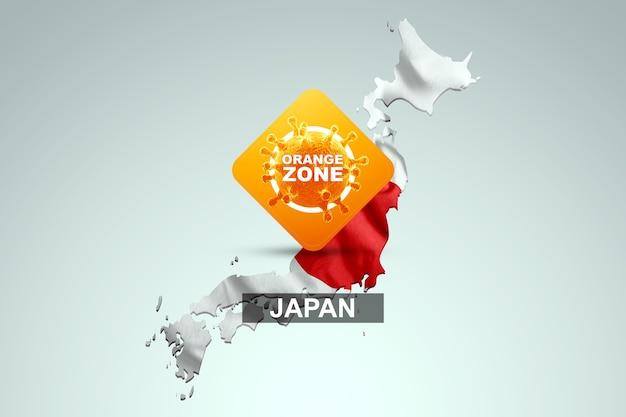日本の国旗が描かれた日本の地図の背景にオレンジ色のゾーンが刻まれた看板。オレンジ色の危険レベル、コロナウイルス、封鎖、検疫、ウイルス。 3dレンダリング、3dイラスト。