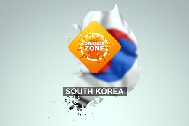 Знак с надписью оранжевая зона на фоне карты южной кореи с ее флагом. оранжевый уровень опасности, коронавирус, изоляция, карантин, вирус. 3d визуализация, 3d иллюстрации.