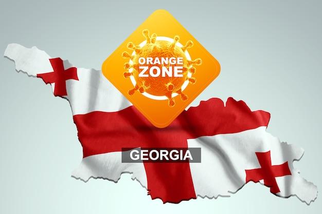Знак с надписью оранжевая зона на фоне карты грузии с грузинским флагом. оранжевый уровень опасности, коронавирус, изоляция, карантин, вирус. 3d визуализация, 3d иллюстрации.
