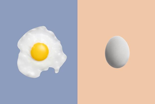 Простая летающая плавающая жареная яйцо на фоне пастельных тонов, модный минималистичный дизайн