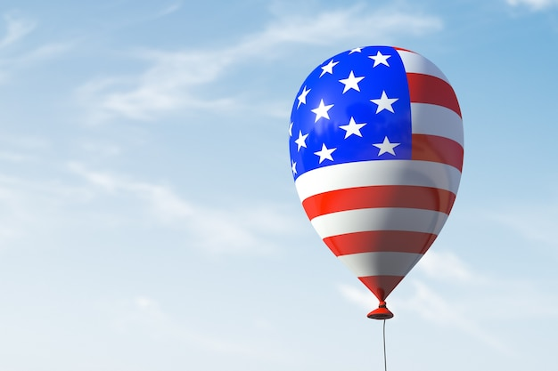 미국 상징이있는 단일 풍선.