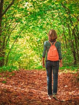 日当たりの良い秋の森にピンクのバックパックを背負ったほっそりした女性観光客がトレイルに行きます。旅行のコンセプト。垂直方向のビュー。