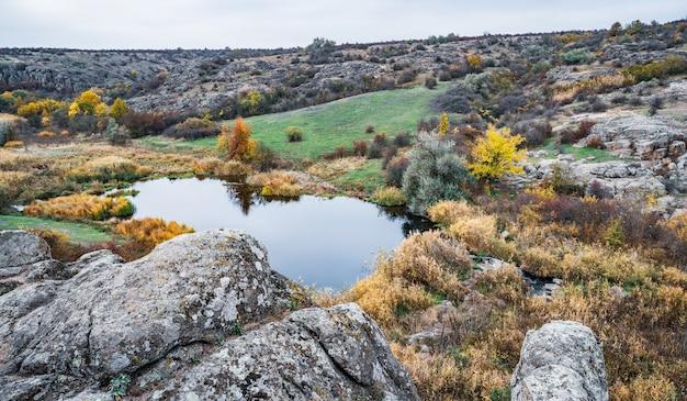 Небольшая и чудесная река быстро течет посреди зеленых лугов и серых скал на красивой природе карпатских холмов.