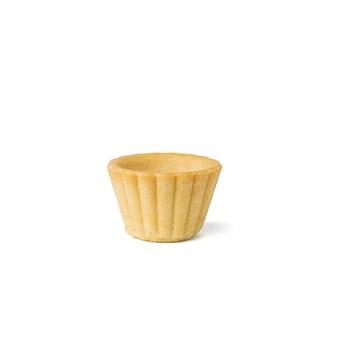 白い表面に分離された小さな焼きサラダタルト Premium写真