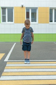 Маленький мальчик в одиночестве переходит дорогу по пешеходному переходу