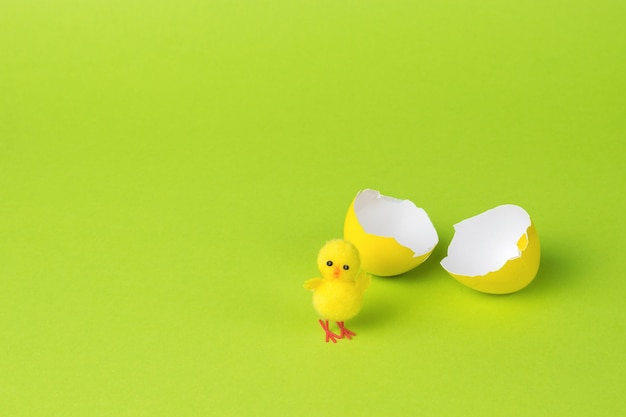 緑の背景に壊れた卵の近くに小さな鶏。