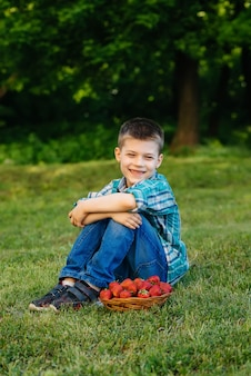 Маленький милый мальчик сидит с большой коробкой спелой и вкусной клубники