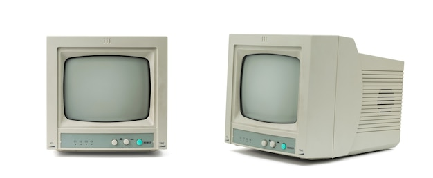 흰색 배경에 격리된 측면과 전면에 있는 작은 회색 모니터.