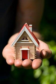 男の手につまようじの小さな家。