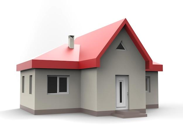 Домик с красной крышей и черными стенами. 3d иллюстрации.
