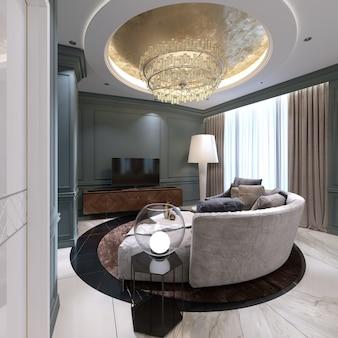 テレビ台の近くに半円形のソファと快適なアームチェアを備えた小さなリビングルーム。青い壁と大理石の床のあるリビングルームのインテリアデザイン。 3dレンダリング