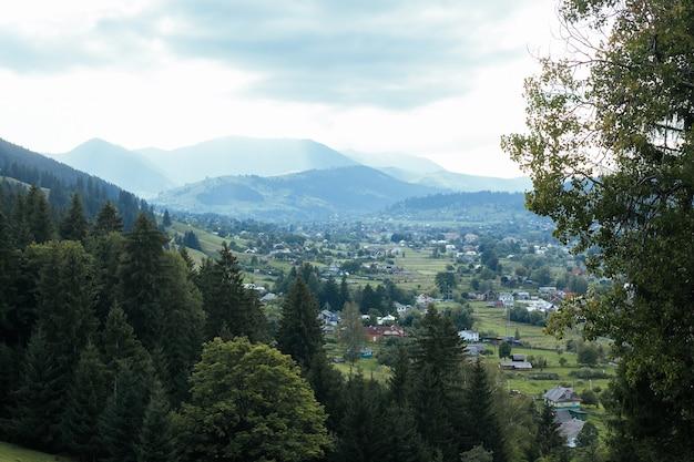 큰 녹색 숲과 산 풍경이있는 협곡의 작은 마을