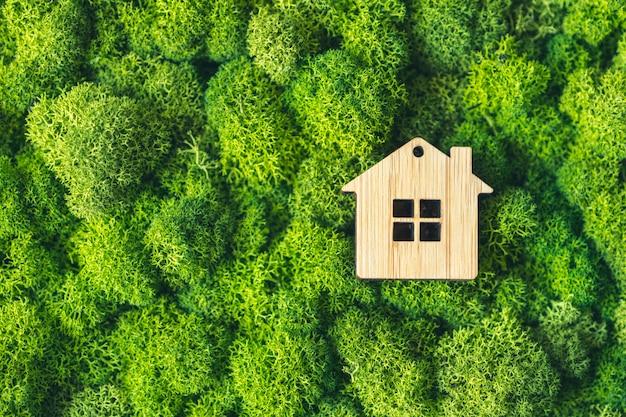 개인 시골집의 상징으로 식물의 배경에 작은 장난감 집. 모기지 부동산의 개념입니다.