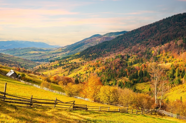 좋은 날씨에 밝고 따스한 햇살 아래 화려한 가을 숲으로 뒤덮인 환상적인 언덕 아래의 작은 마을