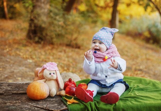 Маленькая тепло одетая девочка сидит на пледе на бревне в парке осенью рядом с тыквой и игрушками