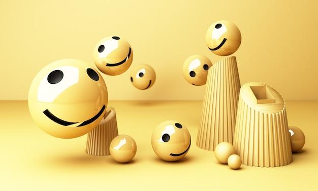 노란색 배경에 미소와 함께 웃는 얼굴 이모티콘-노란색 기하학적 모양 3d 렌더링으로 진정한 행복의 감각을 보여주는 이모티콘