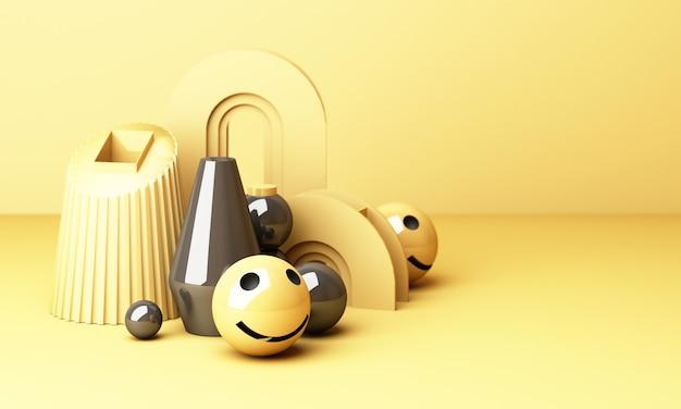 黄色の背景に笑みを浮かべて笑顔の絵文字-黄色の幾何学的形状の3 dレンダリングで幸せの本当の意味を示す絵文字