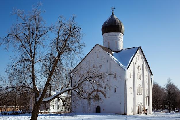 눈 덮인 정교회와 푸른 하늘을 배경으로 한 나무