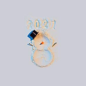 Снеговик из муки с морковкой и спичками.