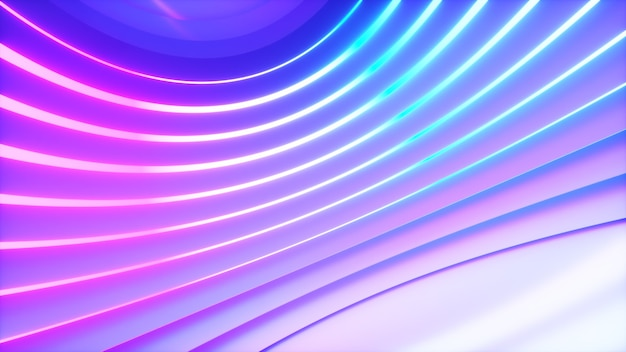 オフセット効果のある明るいネオン照明のある球形の部屋。ビジネスの背景。 3dイラスト
