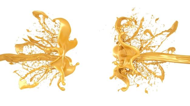 캐러멜 스플래시. 3d 그림, 3d 렌더링입니다.