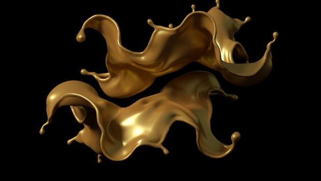 Всплеск золотой карамели на черном фоне. 3d иллюстрации, 3d-рендеринг.