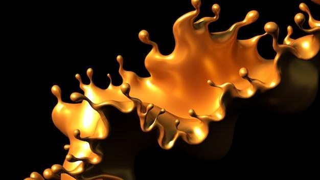Всплеск золотой карамели на черном