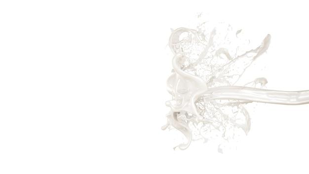 牛乳のスプラッシュ。 3dイラスト、3dレンダリング。