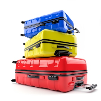 다채로운 가방 스택입니다. 3d 렌더링 그림.