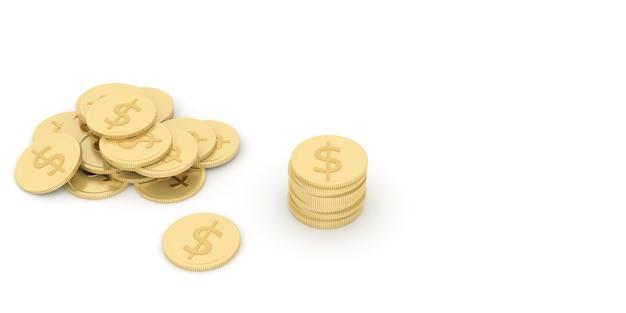 금화와 은화의 스택은 사업 운영의 이익과 전략을 나타냅니다. 3d 렌더링