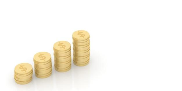 금화 더미는 사업 운영의 이익과 전략을 나타냅니다. 3d 렌더링