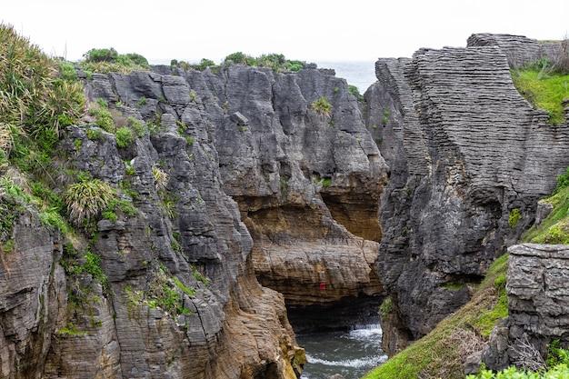 돌다리 팬케이크 록스 파파 로아 국립 공원 뉴질랜드 남섬