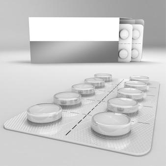 錠剤のストリップ3dレンダリング等角図