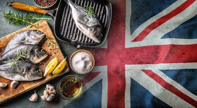 Eu와 영국의 브렉시트 협정에서 어업의 골칫거리를 상징하는 상징.