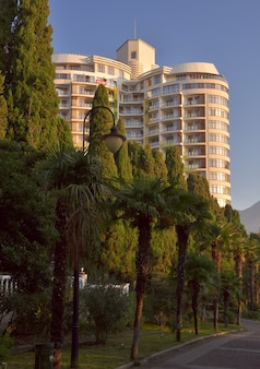 朝の光の中でヤルタの海辺の公園の木々の後ろにバルコニーがある高層ビル