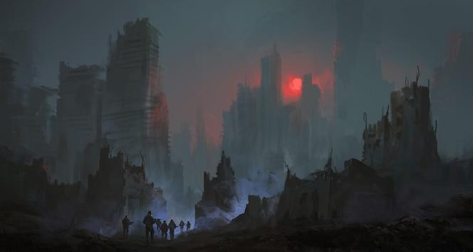 핵전쟁 그림 이후 군인 팀이 도시를 걷고 있습니다.