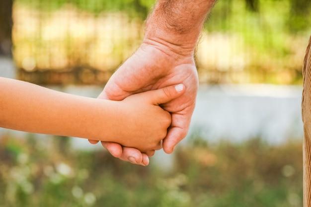 A 공원에서 부모와 자식의 손 프리미엄 사진