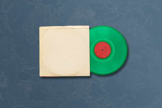 색상 표면에 새 비닐 디스크가있는 모형 템플릿, 음악 앨범 표지 디자인