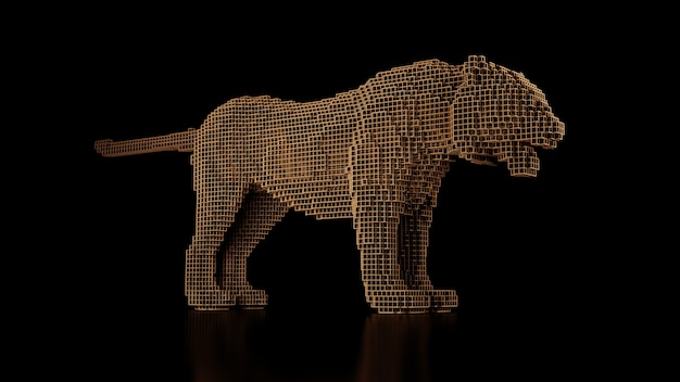 黒の制服の背景にたくさんの立方体で作られた虎。立方体要素のコンストラクタ。現代のパフォーマンスにおける野生動物の世界の芸術。 3dレンダリング。