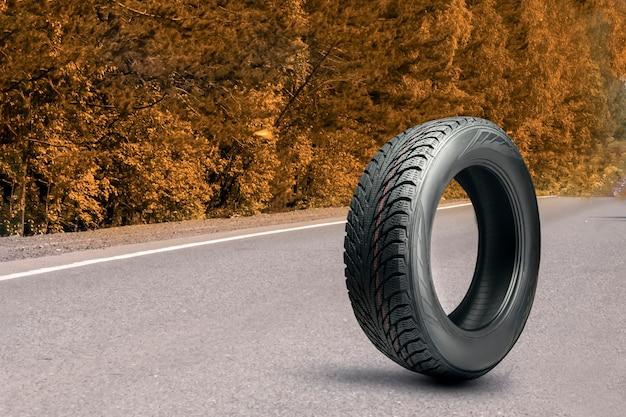 Шина на дороге осенью. зимнее всесезонное или осеннее колесо. смена обуви автомобиля по сезону. копировать пространство.