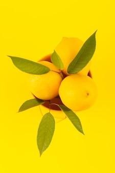 Вид сверху корзина с лимонами свежих спелых с зелеными листьями, изолированных на желтом