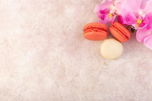 Вид сверху французские макароны круглые и вкусные на розовом столе, печенье, сахар, сладкий торт
