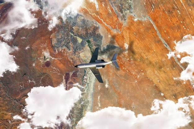宇宙から見た地球表面の上面図、飛行機を飛ばした衛星写真。