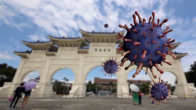 コロナウイルス2019ncovコンセプトで台北の首都で非常に有名な観光名所