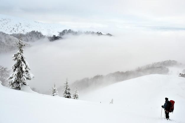 Carpathians의 산에서 겨울에 관광객