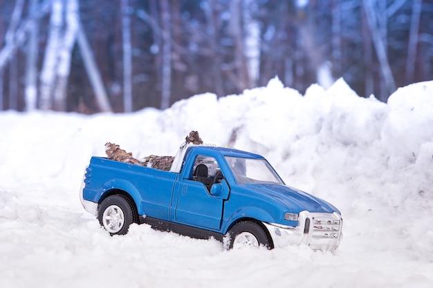 눈 더미에서 겨울 숲에서 장난감 블루 픽업 트럭 뒤에 전나무 콘을 들고