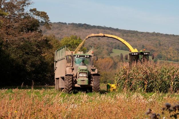 農家の畑で働くトラクター